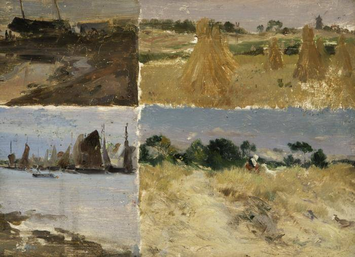 Four scenes of rural France painted by Mathias Alten in 1899